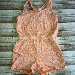 3/$15 Old Navy Floral Orange Sleeveless Romper S